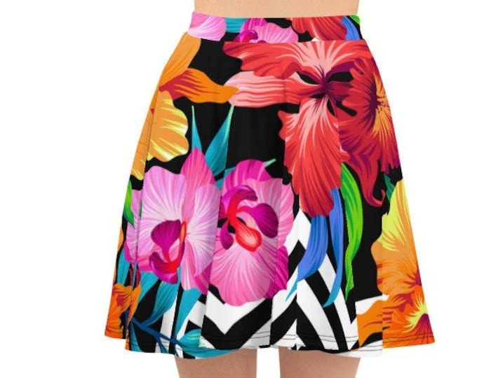 Womens Skater Skirt, Circle Skirt, Tropical Flowers Floral Skirt, Custom All Over Print Skirt, XS-3XL Size, Bohemian Hippie Clothing