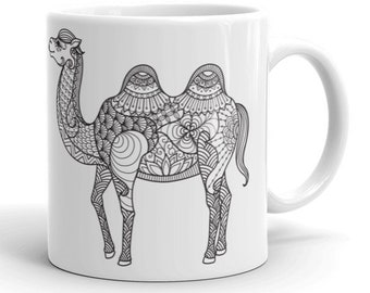 11oz Ceramic Mug, Boho Bohemian Camel Novelty Mug, Novelty Drink Mug, Animal Coffee Mug, Boho Ceramic Mug, Gift for Her, Gift for Him