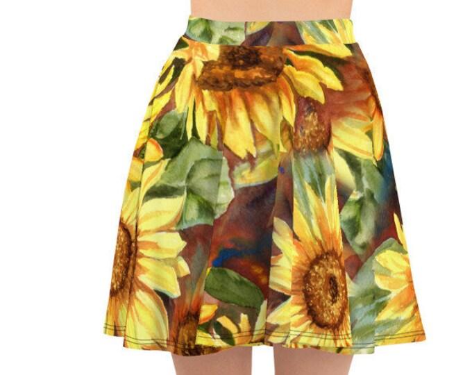 Womens Skater Skirt, Circle Skirt, Boho Sunflowers Flowers Floral Skirt, Custom All Over Print Skirt, XS-3XL Size, Bohemian Hippie Clothing