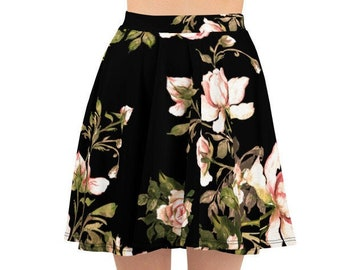 Womens Skater Skirt, Circle Skirt, Roses Flowers Floral Skirt, Custom All Over Print Skirt, XS-3XL Size, Bohemian Hippie Clothing