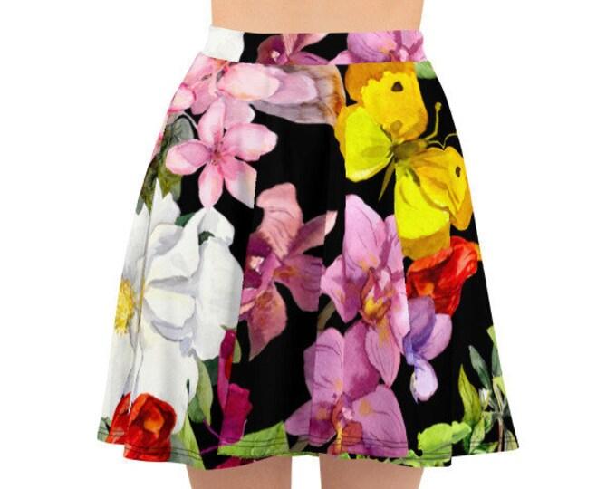 Womens Skater Skirt, Circle Skirt, Butterflies Flowers Floral Skirt, Custom All Over Print Skirt, XS-3XL Size, Bohemian Hippie Clothing