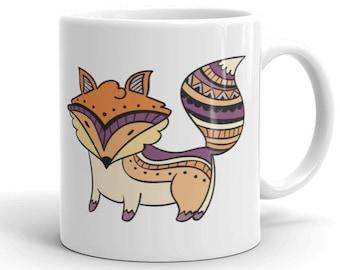 11oz Ceramic Mug, Boho Bohemian Fox Novelty Mug, Novelty Drink Mug, Animal Coffee Mug, Boho Ceramic Mug, Gift for Her, Gift for Him