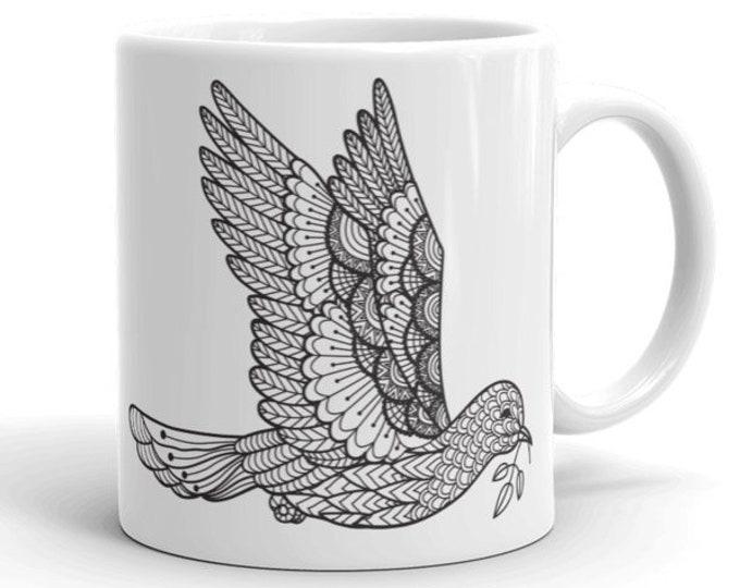 11oz Ceramic Mug, Boho Bohemian Flying Dove Novelty Mug, Novelty Drink Mug, Animal Coffee Mug, Boho Ceramic Mug, Gift for Her, Gift for Him