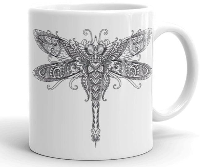 11oz Ceramic Mug, Boho Bohemian Dragonfly Novelty Mug, Novelty Drink Mug, Animal Coffee Mug, Boho Ceramic Mug, Gift for Her, Gift for Him