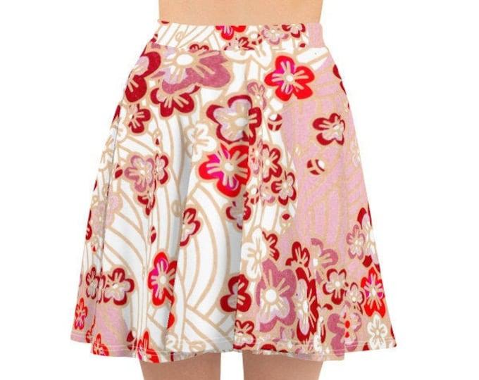 Womens Skater Skirt, Circle Skirt, Japanese Cherry Blossom Floral Skirt, Custom All Over Print Skirt, XS-3XL Size, Bohemian Hippie Clothing