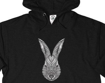 Unisex French Terry Hoodie, Medium Weight Boho Bohemian Hoodie Sweatshirt, XS-3XL, Hippie Bunny Rabbit Unisex Front Pocket Sweatshirt Hoodie