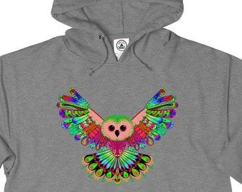 Unisex French Terry Hoodie, Medium Weight Boho Bohemian Hoodie Clothing, XS-3XL, Hippie Owl Bird Unisex Front Pocket Sweatshirt Apparel