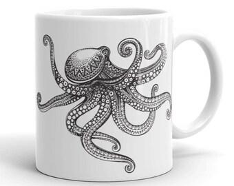11oz Ceramic Mug, Boho Bohemian Octopus Novelty Mug, Novelty Drink Mug, Animal Coffee Mug, Boho Ceramic Mug, Gift for Her, Gift for Him