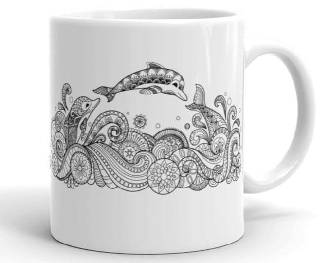 11oz Ceramic Mug, Boho Bohemian Dolphin Novelty Mug, Novelty Drink Mug, Animal Coffee Mug, Boho Ceramic Mug, Gift for Her, Gift for Him