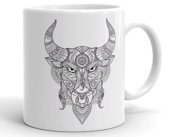 11oz Ceramic Mug, Boho Bohemian Bull Novelty Mug, Novelty Drink Mug, Animal Coffee Mug, Boho Ceramic Mug, Gift for Her, Gift for Him