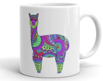 11oz Ceramic Mug, Boho Bohemian Llama Novelty Mug, Novelty Drink Mug, Animal Coffee Mug, Boho Ceramic Mug, Gift for Her, Gift for Him