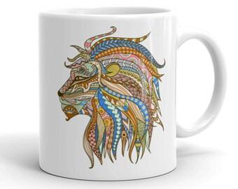 11oz Ceramic Mug, Boho Bohemian Lion Novelty Mug, Novelty Drink Mug, Animal Coffee Mug, Boho Ceramic Mug, Gift for Her, Gift for Him