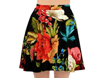 Womens Skater Skirt, Circle Skirt, Roses Flowers Floral Skirt, Custom All Over Print Skirt, XS-3XL Size, Bohemian Hippie Clothing