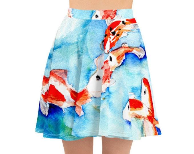 Womens Skater Skirt, Circle Skirt, Boho Japanese Koi Fish Asian Skirt, Custom All Over Print Skirt, XS-3XL Size, Bohemian Hippie Clothing