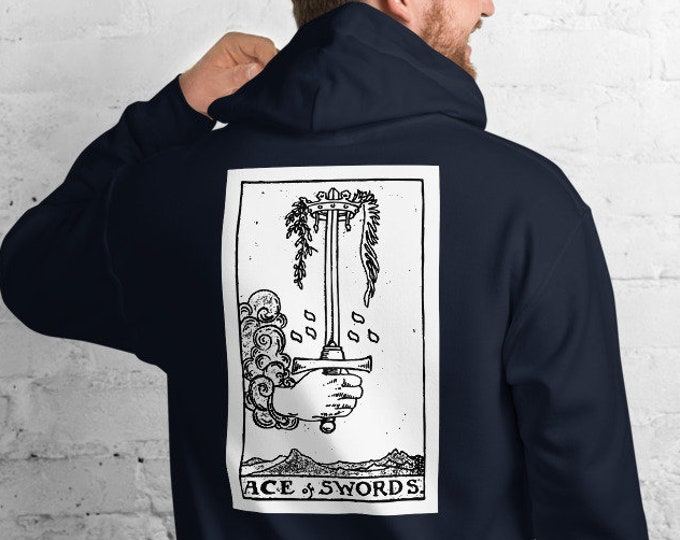 Unisex Heavyweight Hoodie, Tarot Card Occult Print Sweatshirt, Pullover Front Pocket Hoodie, S-5XL Size, Divination Tarot Sweatshirt Jacket