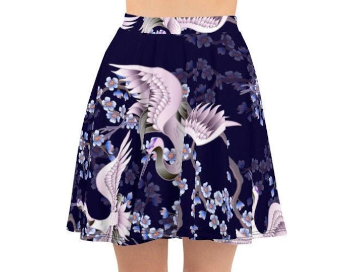 Womens Skater Skirt, Circle Skirt, Boho Japanese Crane Floral Skirt, Custom All Over Print Skirt, XS-3XL Size, Bohemian Hippie Clothing