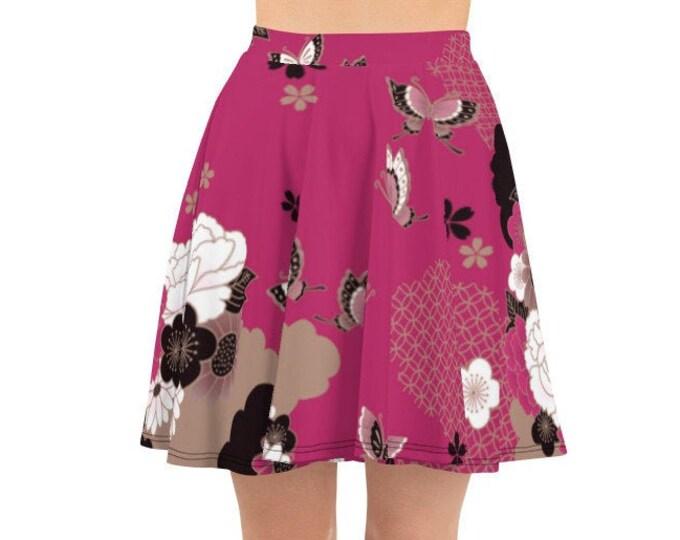 Womens Skater Skirt, Circle Skirt, Boho Japanese Art Asian Floral Skirt, Custom All Over Print Skirt, XS-3XL Size, Bohemian Hippie Clothing