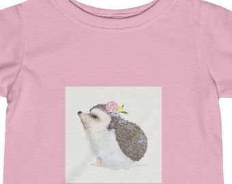 Infant Tee, Cotton Fine Jersey Baby Tee, 6M - 24M Tee Shirt, Children's Clothing, Hedgehog Animals Print Tee, Kids Infant Apparel Clothing