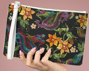 PU Vegan Leather Lined Clutch Bag, Japanese Dragon Zipper Bag, Vegan Leather Zipper Clutch Bag, Makeup Pouch, Makeup Accessory Lined Pouch