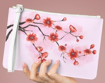 Vegan Leather Lined Clutch Bag, Cherry Blossom Zipper Bag, PU Vegan Leather Zipper Cosmetic Bag, Boho Makeup Accessory Toiletries Travel Bag