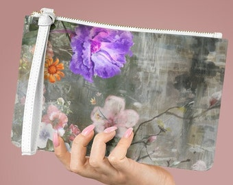 Vegan Leather Lined Clutch Bag, Floral Flower Zipper Bag, PU Vegan Leather Zipper Cosmetic Bag, Boho Makeup Accessory Toiletries Travel Bag