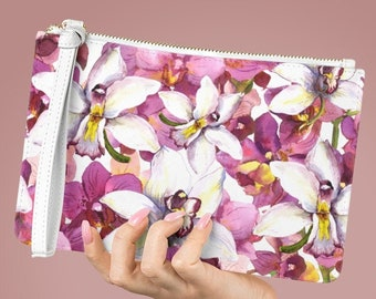 Vegan Leather Lined Clutch Bag, Floral Flowers Zipper Bag, PU Vegan Leather Cosmetic Purse, Makeup Accessory Toiletries Travel Bag