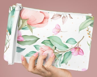 Vegan Leather Lined Clutch Bag, Floral Flowers Zipper Bag, PU Vegan Leather Zipper Cosmetic Bag, Makeup Accessory Toiletries Travel Bag