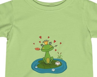 Infant Tee, Cotton Fine Jersey Baby Tee, 6M - 24M Tee Shirt, Children's Clothing, Frogs Animals Print Tee, Kids Infant Apparel Clothing