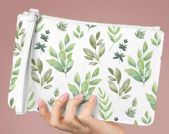 Vegan Leather Lined Clutch Bag, Tropical Leaf Zipper Bag, PU Vegan Leather Zipper Cosmetic Bag, Makeup Accessory Toiletries Travel Bag