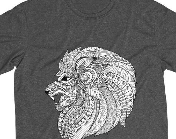 Mens Heather Dri-Fit Tee Mandala Tribal Lion Boho Bohemian Animal Tee Shirt XS-4XL Size, Polyester Jersey Mens Sports Shirt Apparel