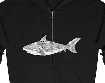 Unisex Full Zip Hooded Sweatshirt, Shark Fish Print Zipper Hoodie, S-5XL Boho Bohemian Front Zip Hoodie, Pocket Zipper Sweatshirt Zip Jacket