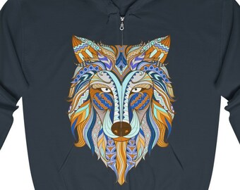 Unisex Full Zip Hooded Sweatshirt, Wolf Print Zipper Hoodie, S-5XL Boho Bohemian Front Zip Hoodie, Pocket Zipper Sweatshirt Zip Jacket