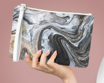 Vegan Leather Lined Clutch Bag, Marble Print Bag, Art Zipper Purse Bag, PU Vegan Leather Zipper Cosmetic Bag, Boho Makeup Accessory Pouch