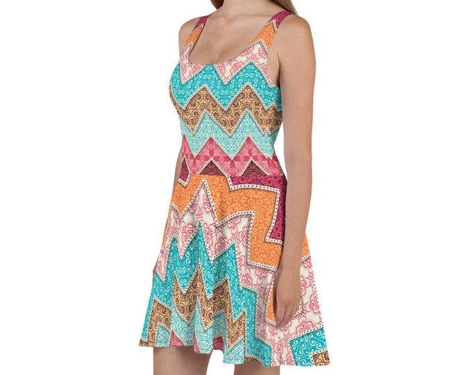 Womens Skater Dress, Boho Print Tank Dress, Zig Zag Bohemian Sleeveless All Over Print Dress, Hippie Polyester Spandex XS-3XL, Flowy Dress
