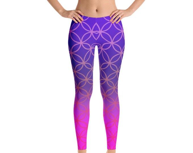 Womens Leggings, Flower of Life Print Leggings, Exercise Yoga Pants, Bohemian Sacred Geometry Hippy Custom Printed Leggings XS S M L XL Size