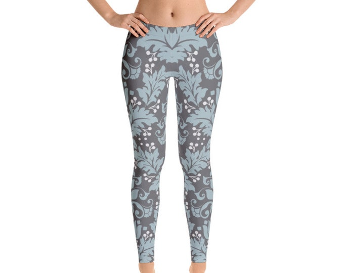 Womens Leggings, Boho Leaf Swirl Print Leggings,  Exercise Yoga Pants, Bohemian Filigree Hippy Custom Printed Leggings XS S M L XL Size