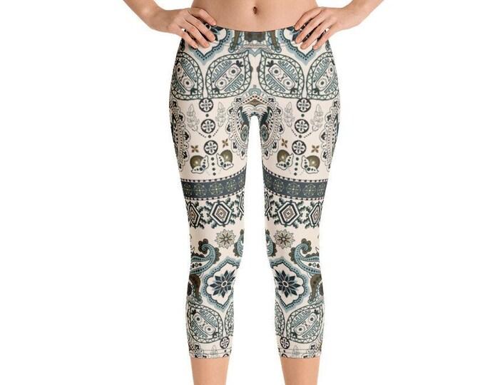 Womens Capri Leggings, Boho Bohemian Batik Print Leggings Stretch Capri's, Womens Yoga Pants, Polyester Spandex Capri XS S M L XL Size
