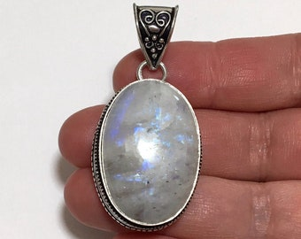 Womens Pendant, Blue Flash Rainbow Moonstone Gemstone Pendant, Sterling Silver Pendant, Moonstone Jewelry Necklace, Moonstone Gem Pendant