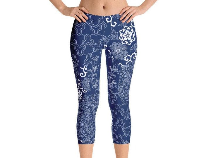 Womens Capri Leggings, Boho Bohemian Japanese Asian Art Leggings Stretch Capris, Womens Yoga Pants, Polyester Spandex Capri XS S M L XL Size