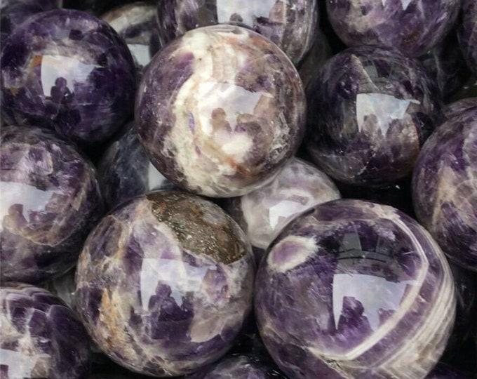 40mm Chevron Amethyst Sphere, Purple White Amethyst Crystal Ball Sphere, Gemstone Mineral Crystal Ball Healing Meditation, Polished Gem