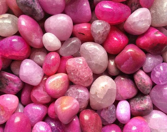 Bulk 1/2lb Tumbled Dyed Pink Agate Gemstones, Bulk Wholesale Party Colors Tumbled Stones, Dyed Hot Pink Gemstones, Bulk Healing Crystals