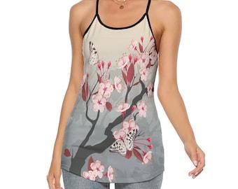 Japanese Floral Womens Criss-Cross Open Back Tank Top, Size S-5XL Womens Tank Top, Japanese Style Flowy Tank, Bohemian Summer Beach Clothing