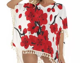 Japanese Art Women's Square Fringed Shawl, XS-2XL Size Shawl, Boho Bohemian Pullover Fringe Shawl, Cherry Blossom Print Shawl Pullover