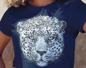Unisex Jersey Short Sleeve Tee, Jaguar Cheetah Animal Totem Floral Hippie Boho Bohemian Tee Shirt, Bella Canvas 3001, Unisex Tee XS-3XL