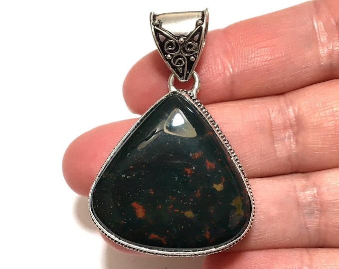 Womens Pendant, Bloodstone Gemstone Pendant, Sterling Silver Pendant, Boho Necklace, Bohemian Gemstone Jewelry, Boho Jewelry