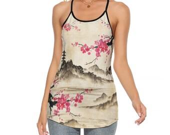 Cherry Blossom Womens Criss-Cross Open Back Tank Top, Size S-5XL, Japanese Style Flowy Tank, Summer Boho Sleeveless Top, Summer Apparel