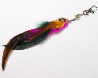 Real Feather Bag Charm, Gemstone Purse Clip, Beaded Feather Purse Charm Clip, Real Feather Keychain Charm, Zipper Pull, Purse Accessory Clip