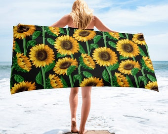 Large Beach Towel, 30 x 60 Inch Towel, Bath Towel, Sunflowers Floral Towel, Custom Print Towel, Floral Art Designer Towel, Premium Towel