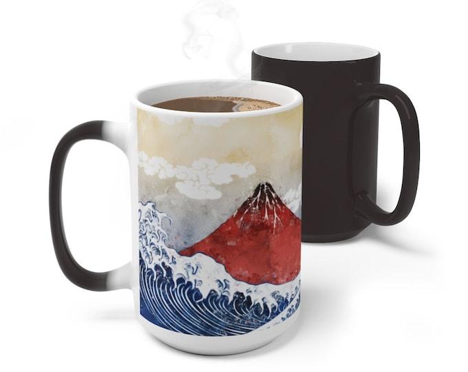 Japanese Ocean Color Changing Mug, Magical Mug, 11oz 15oz Mug, Magic Mug, Bohemian Hippie Boho Mug, Color Change Cup, Ceramic Coffee Mug