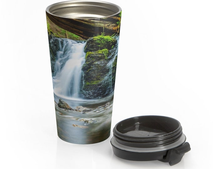 Stainless Steel Travel Mug, Boho Bohemian Hippie Travel Mug, Waterfalls Nature All Over Print Steel Mug, 15 Ounce Tumbler, 15oz Travel Mug